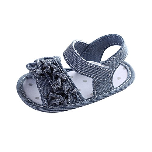 Baby Girl Shoes Miuye Little Kid Toddler Girl Crib Shoes Newborn Flower Soft Sole Anti-Slip Baby Sneakers Sandals Gray