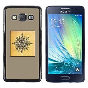 Be Good Phone Accessory // Dura Cáscara cubierta Protectora Caso Carcasa Funda de Protección para Samsung Galaxy A3 SM-A300 // yellow Viking shield brown black sketch