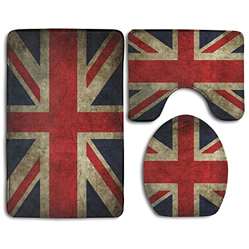 Vintage UK British Flag Skidproof Toilet Seat Cover Bath Mat Lid Cover 3 Piece Non Slip Bath Rug Mats Sets For Shower SPA from BesArts