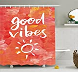 Ambesonne Good Vibes Shower Curtain, Artistic Brushstrokes Positive Life Message Hand Drawn Sun Figure Print, Fabric Bathroom Decor Set with Hooks, 70 inches, Dark Coral