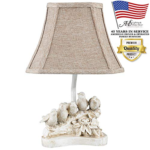 AHS Lighting L1950AW Bird Chorus Decorative Accent Lamp Natural Beige Polyresin Perfect, arm Tables, Bookshelf, Bed-Side, Fireplace Mantel, Cabin Cottage Style Homes (Proper Lamps For Bedside Size)