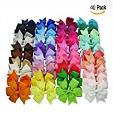Cisixin Boutique Baby Girls Alligator Clips Grosgrain Ribbon Pinwheel Hair Bows For Teens Kids Toddlers 40Piece