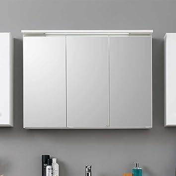 Spiegelschrank modern  3D Spiegelschrank in Weiß modern Breite 80 cm Pharao24: Amazon.de ...