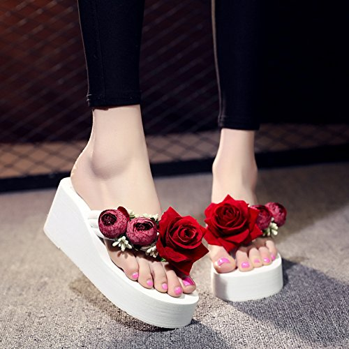 Fashionable Bottom Slippers Flops Beach Thick Casual Women Clips Flip Thick Shoes Summer Flowers Bottom Handmade gules Foot XKNSLX Lovely gw8FqBg