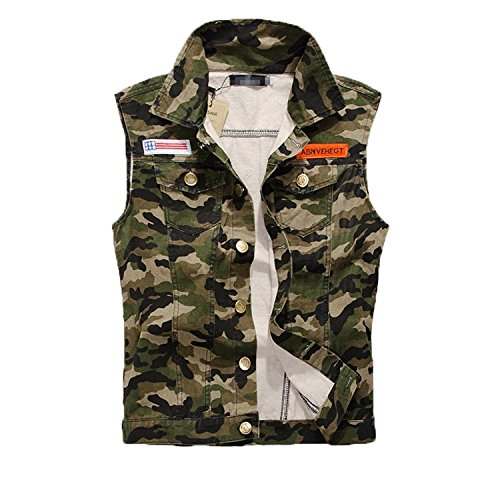FL Men's Comfortable Slim Fit Camo Cotton Demin Jacket Sleeveless Vest (M) (Camouflage Vest)