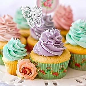 Prettyia Crystal Butterfly Cake Topper Food Sticks Wedding Birthday Centerpieces