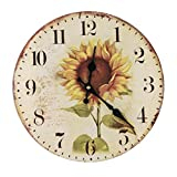 """LOVE(TM)12inch Wooden Clock Shabby Chic Retro Arabic Numeral Sunflower Wooden Wall Clock Kitchen Livingroom Bedroom Decoration(12"""",G)(NON-TICKING,NO GLASS COVER,NO FRMAE)"""