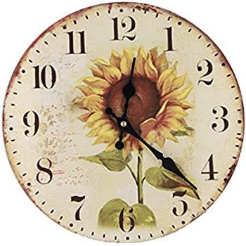 LOVE(TM)12inch Wooden Clock Shabby Chic Retro Arabic Numeral Sunflower  Wooden Wall Clock