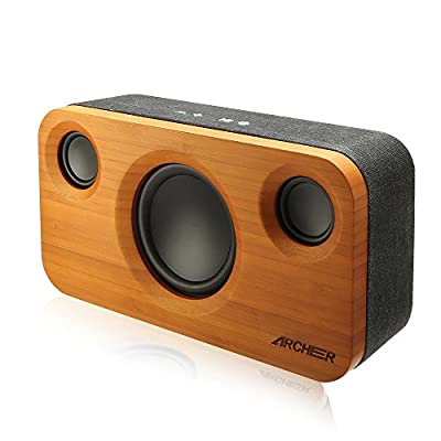 ARCHEER 25W Bluetooth Speakers (A320) with Super Bass, Bamboo Wood Home Speaker with Subwoofer by ARCHEER