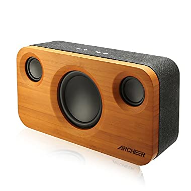 ARCHEER 25W Bluetooth Speakers (A320) with Super Bass, Charging Port Upgraded, Bamboo Wood Home Speaker with Subwoofer