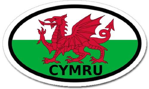 Wales Cymru in Welsh and Welsh Flag Car Bumper Sticker Oval