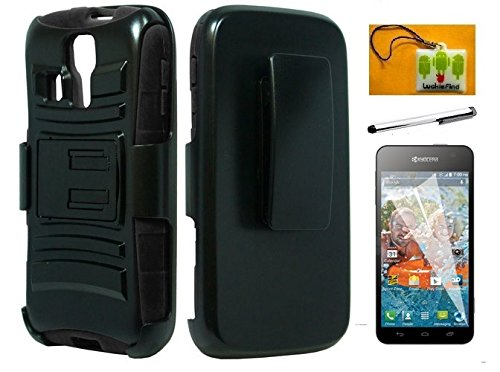 LF 4 in 1 Bundle - Black Hybridy Dual Layer Case With Stand & Holster, Lf Stylus Pen, Screen Protector and Droid Wiper For (MetroPCS / T-Mobile / Boost) Kyocera Hydro Icon C6730 / Hydro Life C6530 (Holster Black / Black)