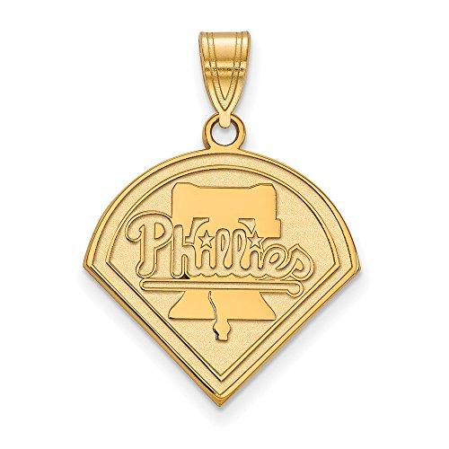 Q Gold MLB Philadelphia Phillies 10ky MLB LogoArt Philadelphia Phillies Large Pendant Size One ()