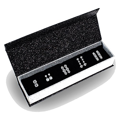 R-timer Women Unique 5 Pairs Diamond Stud Earrings with Crystals from Swarovski Valentines Gift (5 PAIRS) (5 Pairs)