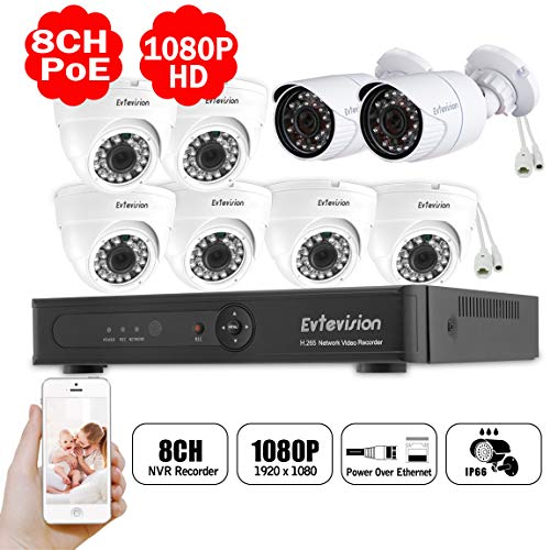 Evtevision 8CH 1080P Security Camer System,8CH H.265 POE NVR 6X IR Dome IP Network Camera 2X Bullet POE Camera,Weatherproof Power Over Ethernet Smart Recording Motion Detection Remote Access No HDD