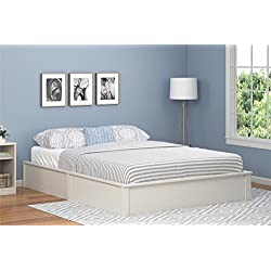 Ameriwood Home Queen Platform Bed Frame, Vintage White