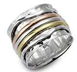 """Energy Stone """"ELEGANCE"""" Tri Color Meditation Spinning Rings (Style# USA07)"""