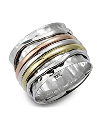 "Energy Stone ""ELEGANCE"" Meditation Spinning Ring with Tri Color Spinners and Sterling Silver Hammered Pattern Base Ring (Style# SR07)"