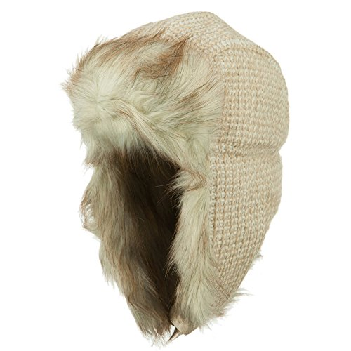 Women's Crocheted Knit Trooper Hat - Beige OSFM