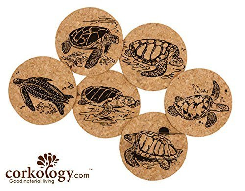 Corkology Sea Turtles Coaster Set, Cork by Corkology