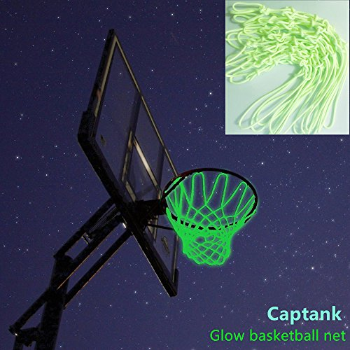 Captank Glow Basketball Net Glowing in the Dark Outdoor Sports Nylon Basketball Hoop Rim Net All Weather Thick Replacement Net by Captank