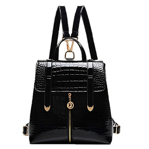 [Catkit Charm Womens Croco Tote Handbag School Shoulder Bag Travel Backpack Black] (Patent Leather Backpack)