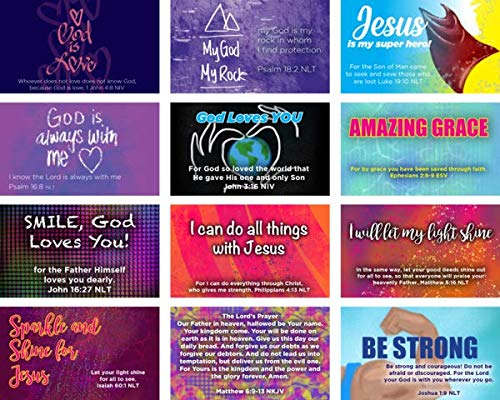Children's Pass Along Pocket Scripture Card Variety Pack of 60 | Popular Memory Verses | 12 Hand Picked Designs, 5 of Each Design | Great Gift to Build Faith and Share the Gospel | Assortment 5 (Let Your Light Shine Vacation Bible School)