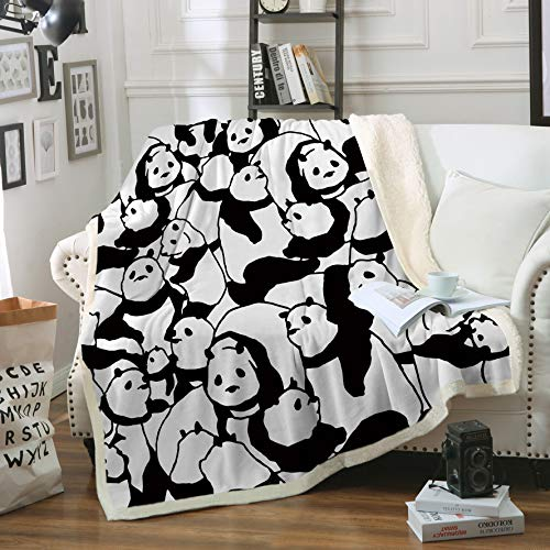 - Sleepwish Panda Plush Blanket Cartoon Animal Throw Blanket Cute Panda Bears Graphic Pattern Kids Blankets Fleece (50x60 Inches)