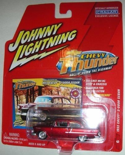 1955 Chevy 2 Door Sedan (Johnny Lightning Chevy Thunder Marc Greenfield's 1955 Chevy 2-Door Sedan Red #6)