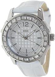 Guess Watch, Women's White Croco-grain Leather Strap U0019L1