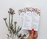 Whats On Your Phone Game - Floral Rustic - (50-Sheets) Bridal Shower Party Game Cards Wedding Bride to Be