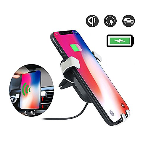 Wireless Car Charger Fast Charging Mount Air Vent Phone Holder Cradle Wireless Charger for Samsung Galaxy S6/S8/S8+/S7/S7 Edge/S6 Edge/S6 Edge Plus, Qi Standard Charge for iPhone 8/8 Plus/X by WECODO