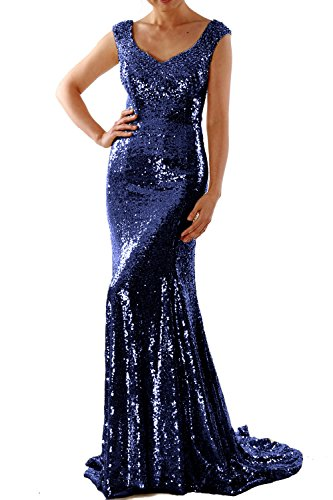 MACloth Women Mermaid Sequin Long Prom Dress Formal Evening Wedding Party Gown Azul Marino Oscuro