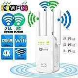 FidgetGear 1200Mbps Dual Band Wireless Range Extender WiFi Repeater Router 4 Antenna 2.4/5G