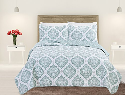 Home Fashion Designs Arabesque Collection 3-Piece Luxury Quilt Set with Shams. Soft All-Season Microfiber Bedspread and Coverlet with Unique Pattern Brand. (King, Mineral Blue)