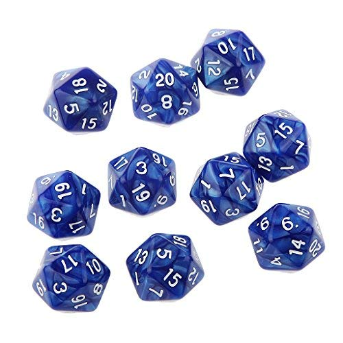 25 Blue Dice - Pack of Blue Twenty Sided D20 Dice Playing D&D Warhammer RPG Board Game Favours