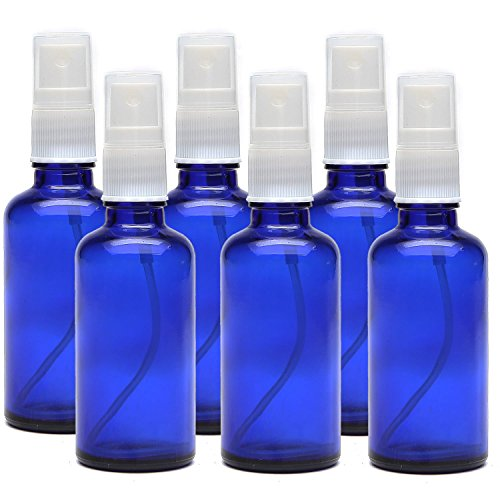 Kaith 2 Oz Glass Spray Bottle with Recipes Guide.Set of 6 Cobalt Blue Fine Mist Atomizer. Empty Containers for Misting Aromatherapy, Essential Oils, Cleaning, Room Sprays. (Blue)