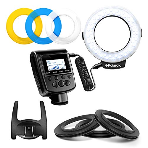 (Polaroid 48 Macro LED Ring Flash & Light Includes 4 Diffusers (Clear, Warming, Blue, White) For Canon, Nikon, Panasonic, Olympus, Pentax SLR Camera)