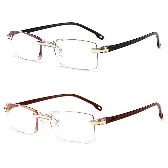 Aiweijia 2 paquetes Sin marco Gafas de lectura Hombres y mujeres Rectangular Gafas Lector de computadora Bloqueo de luz azul +1.0: Amazon.es: Ropa y ...