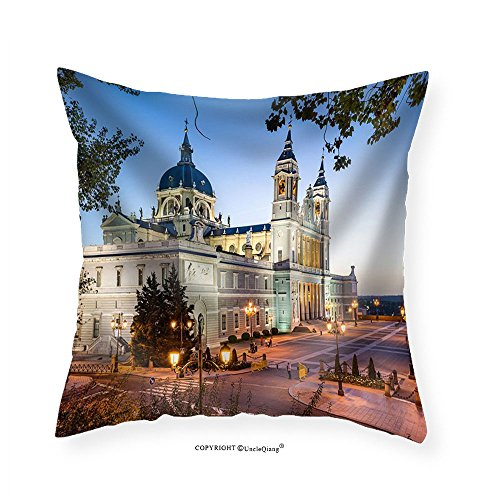 VROSELV Custom Cotton Linen Pillowcase Madrid Spain at La Almudena Cathedral and the Royal Palace. - Fabric Home Decor 22''x22'' by VROSELV