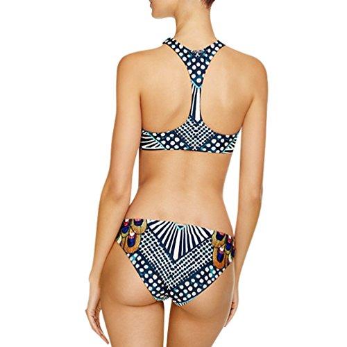 YiJee Mujeres Totem Alta Cuello Bikini Conjuntos Cintura Baja Push Up Ropa de Playa Como la Imagen
