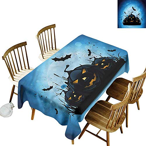 one1love Fashions Rectangular Table Cloth Halloween Scary Pumpkins in Grass High-end Durable Creative Home 52