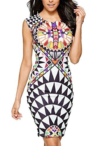 Jaycargogo Slim Dress Bodycon Sleeveless Digital Print Clubwear 1 Mini Women's gnwrq8t54w