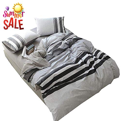 - 3 Piece Cotton Striped Duvet Cover Set King Modern Soft Reversible Bedding Collection Luxury Hotel Quality Men Boys Duvet Comforter Cover Set with Zipper Closure and Corner Ties King Bed