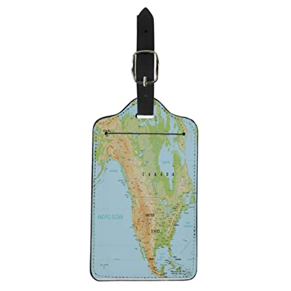Map Of Canada With Labels.Amazon Com Semtomn Luggage Tag Topographic North America Physical