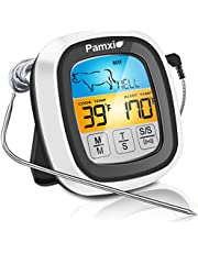 【2021 NEW Technology】Instant Read Meat Thermometer 40in Probe Wire Digital Oven Safe Food Thermometer for Cooking with Sensitive Color LCD Display for BBQ, Smoker, Grill -10 YEARS RETURNABLE