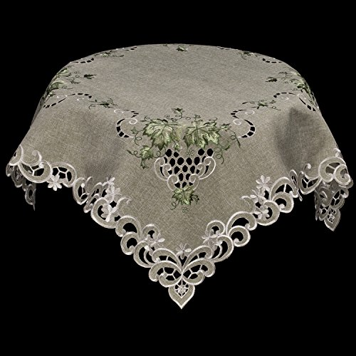 Linens, Art and Things Embroidered Green Leaf on Antique Green Fabric Table Topper, Small Table Cloth, Dresser Scarf 44'' x 44'' by Linens, Art and Things (Image #2)