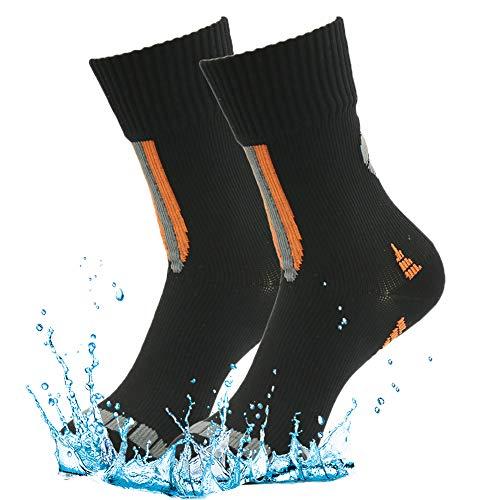 RANDY SUN 100% Waterproof Socks, Men's Standard Light Cushion Colorful Socks Black Two Pairs Size Large -