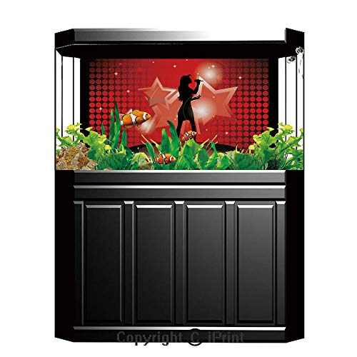 """Terrarium Fish Tank Background,Popstar Party,Young Singer Woman on Stage Performing with Star Figures Dotted Backdrop,Red Coral Black,Photography Backdrop for Pictures Party Decoration,W48.03""""xH18.11"""""""