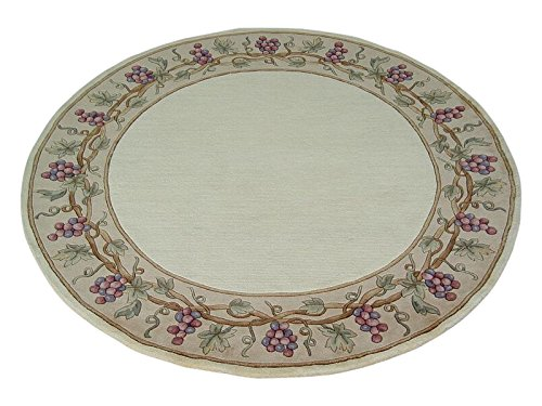 KAS Oriental Rugs Emerald Collection Grapes Border Round Area Rug, 7' x 6